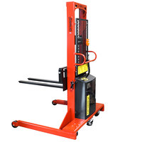 Wesco Industrial Products 261066 1500 lb. Wide Base Hydraulic Power Lift Fork Stacker with 42 inch Forks and 76 inch Lift Height