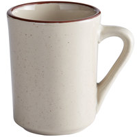 Choice 8.5 oz. Brown Speckle Narrow Rim Stoneware Coffee Cup / Mug - 36/Case