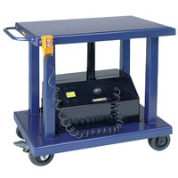 Wesco Industrial Products 261108 18 inch x 36 inch Battery-Powered Lift Table with 47 1/2 inch Lift Height and Swivel Casters - 1000 lb. Capacity