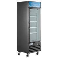 Avantco GDC-12F-HC 27 1/8 inch Black Swing Glass Door Merchandiser Freezer with LED Lighting