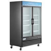 Avantco GDC-49F-HC 53 1/8 inch Black Swing Glass Door Merchandiser Freezer with LED Lighting
