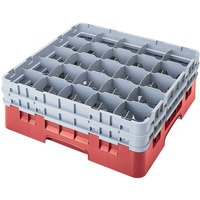 Cambro 25S738163 Camrack 7 3/4 inch High Customizable Red 25 Compartment Glass Rack