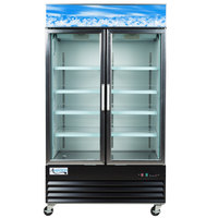 Avantco GDC40 48 inch Swing Glass Door Black Merchandiser Refrigerator with LED Lighting