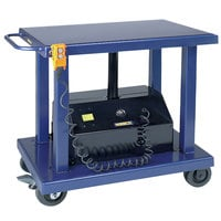 Wesco Industrial Products 261102 24 inch x 36 inch Battery-Powered Lift Table with 59 inch Lift Height and Swivel Casters - 2000 lb. Capacity