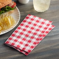 Choice 15 inch x 17 inch Red Gingham 2-Ply Dinner Napkin - 125/Pack