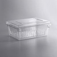 Cambro 26 inch x 18 inch x 9 inch Camwear Clear Food Storage Box and Colander Kit with Flat Lid - 8 inch Deep Colander