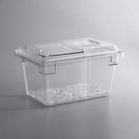 Cambro 18 inch x 12 inch x 9 inch Camwear Clear Food Storage Box and Drain Tray Kit with Sliding Lid