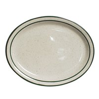 Tuxton TES-014 Emerald 13 1/4 inch x 10 1/2 inch Green Speckle Narrow Rim Oval China Platter - 12/Case