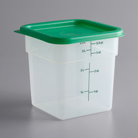 Cambro 4SFSPPSW3190 CamSquares 4 Qt. Translucent Square Food Storage Container with Green Gradations and Lid - 3/Pack
