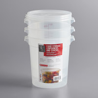 Cambro RFS4PPSW3190 4 Qt. Translucent Round Food Storage Container with Red Gradations and Lid - 3/Pack
