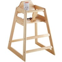 Lancaster Table & Seating Ready-to-Assemble Restaurant Wood High Chair with Natural Finish