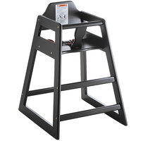 Lancaster Table & Seating Ready-to-Assemble Restaurant Wood High Chair with Black Finish