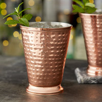 Acopa Alchemy 16 oz. Hammered Copper Mint Julep Cup with Beaded Detailing - 4/Pack
