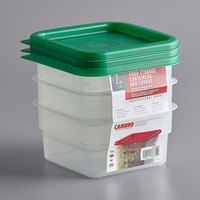 Cambro 2SFSPPSW3190 CamSquares 2 Qt. Translucent Square Food Storage Container with Green Gradations and Lid - 3/Pack