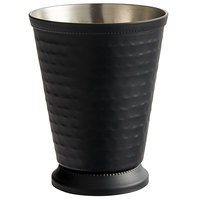 Acopa 16 oz. Hammered Matte Black Mint Julep Cup with Beaded Detailing   - 4/Pack