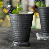 Acopa Alchemy 16 oz. Hammered Matte Black Mint Julep Cup with Beaded Detailing - 4/Pack