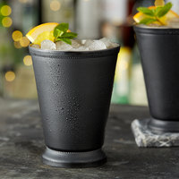 Acopa Alchemy 16 oz. Matte Black Mint Julep Cup with Beaded Detailing - 4/Pack