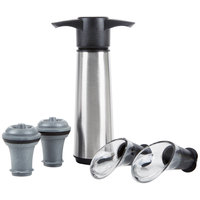 Vacu Vin 0649360P Stainless Steel Wine Saver Vacuum Pump Set with 2 Stoppers