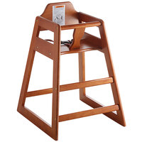 Lancaster Table & Seating Assembled Restaurant Brown Wooden High Chair with Walnut Finish