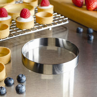 Fat Daddio's SSRD-4075 ProSeries 4 inch x 3/4 inch Stainless Steel Round Tart Ring / Food Ring Mold