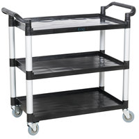 Choice Black Utility / Bussing Cart with Three Shelves - 42 inch x 20 inch