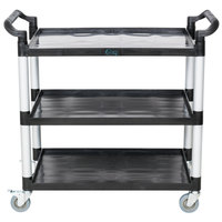 "Choice 42"" x 20"" x 38"" Black 3 Shelf Utility / Bussing Cart"