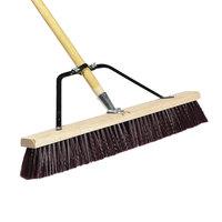 Carlisle 367378TC00 24 inch Hardwood Push Broom with Maroon Polypropylene Bristles, Brace, and Hardwood Handle