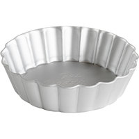 Fat Daddio's PFT-375 ProSeries 3 3/4 inch x 1 inch Round Anodized Aluminum Fluted Tartlet / Quiche Pan with Removable Bottom