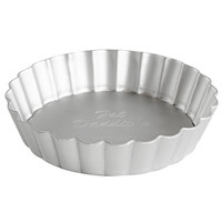 Fat Daddio's PFT-425 ProSeries 4 1/4 inch x 1 inch Round Anodized Aluminum Fluted Tart / Quiche Pan with Removable Bottom