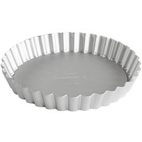 Fat Daddio's PFT-65 ProSeries 6 1/2 inch x 1 inch Round Anodized Aluminum Fluted Tart / Quiche Pan with Removable Bottom