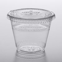 Fabri-Kal Greenware 9 oz. Compostable Clear Plastic Parfait Cup with 4 oz. Insert and Flat Lid - 100/Pack