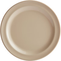 Acopa Foundations 6 1/2 inch Tan Narrow Rim Melamine Plate - 12/Case