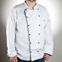Chef Revival J044-3X Men's Chef-Tex Breeze Size 56 (3X) Customizable Poly-Cotton Brigade Chef Jacket with Black Piping