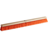 Carlisle 3610223624 Flo-Pac 36 inch Hardwood Push Broom Head with Orange Polypropylene Bristle Blend and Juno Attachment
