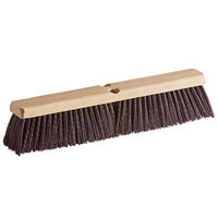 Carlisle 4520101 Flo-Pac 18 inch Hardwood Push Broom Head with Maroon Crimped Polypropylene Bristles