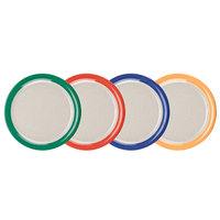 GET NP-9-TTM Diamond Mardi Gras 9 inch Two Tone Narrow Rim Round Melamine Plate, Assorted Color Rims and Ironstone Center - 24/Case