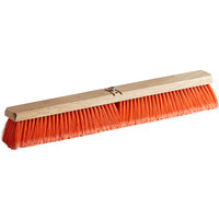 Carlisle 3610222424 Flo-Pac 24 inch Hardwood Push Broom Head with Orange Polypropylene Bristle Blend and Juno Attachment