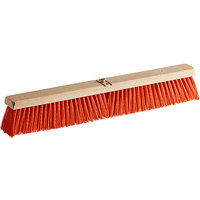 Carlisle 3610762424 Flo-Pac 24 inch Hardwood Push Broom Head with Orange Polypropylene Bristles and Juno Attachment