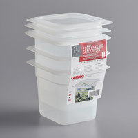 Cambro 66PPSW3190 1/6 Size 6 inch Deep Translucent Polypropylene Food Pan with Seal Cover - 3/Pack
