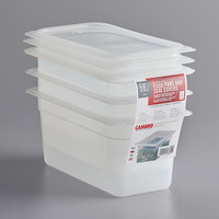Cambro 36PPSW3190 1/3 Size 6 inch Deep Translucent Polypropylene Food Pan with Seal Cover - 3/Pack