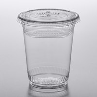 Fabri-Kal Greenware 12 oz. Compostable Clear Plastic Parfait Cup with 4 oz. Insert and Flat Lid - 100/Pack