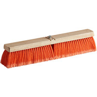 Carlisle 3610221824 Flo-Pac 18 inch Hardwood Push Broom Head with Orange Polypropylene Bristle Blend and Juno Attachment