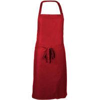 Mercer Culinary M61120RD Genesis® Red Customizable Poly-Cotton Bib Apron with Adjustable Neck - 33 inchL x 23 inchW