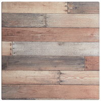 Lancaster Table & Seating Excalibur 28 inch x 28 inch Square Table Top with Textured Mixed Plank Finish