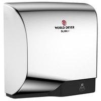 World Dryer L-970A SLIMdri Polished Chrome Aluminum Surface-Mounted ADA Hand Dryer - 110-120V/208V/220-240V, 950W