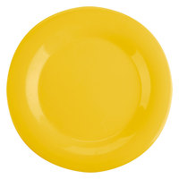 Thunder Group CR010YW 10 1/2 inch Yellow Wide Rim Melamine Plate - 12/Pack