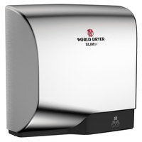 World Dryer L-971A SLIMdri Brushed Chrome Aluminum Surface-Mounted ADA Hand Dryer - 110-120V/208V/220-240V, 950W