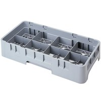 Cambro 8HS318151 Soft Gray Camrack Customizable 8 Compartment 3 5/8 inch Half Size Glass Rack