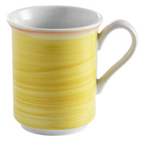 Corona by GET Enterprises PA1600606124 Calypso 11 oz. Yellow Porcelain Mug with Coral Rim - 24/Case