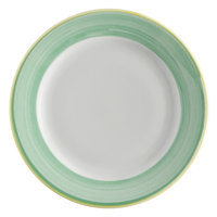 Corona by GET Enterprises PA1603901524 Calypso 7 1/4 inch Bright White Porcelain Rolled Edge Plate with Green and Yellow Rim   - 24/Case